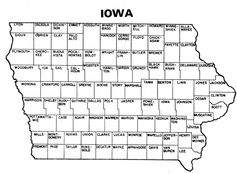 IowaCountiesjpg - Iowa county map