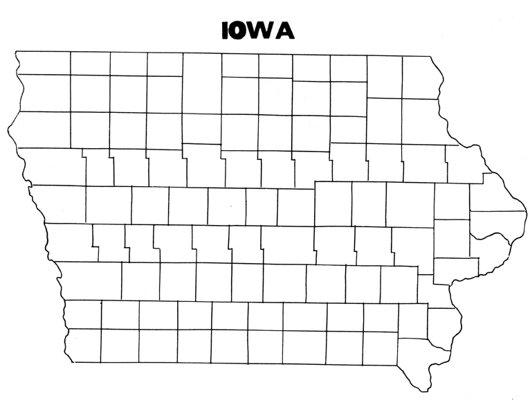 IowaCountieswithoutNamesjpg - Map of iowa counties